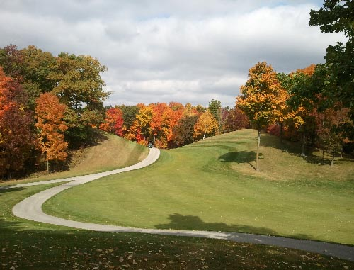 A cart path winds through the course at Autumn Ridge